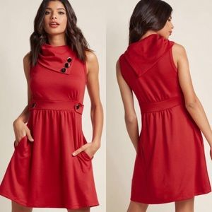 Modcloth Coach Tour A-Line Dress in Rouge Red